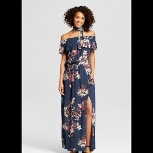 Xhilaration Off The Shoulder Floral Maxi Dress S